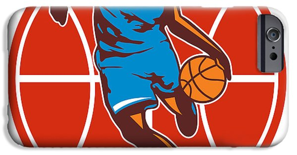 Dribbling iPhone Cases - Basketball Player Dribble Ball Front Retro iPhone Case by Aloysius Patrimonio