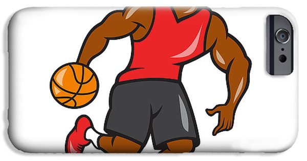Dribbling iPhone Cases - Basketball Player Dribbling Ball Cartoon iPhone Case by Aloysius Patrimonio