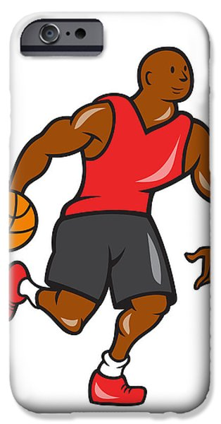 Basketball Player Dribbling Ball Cartoon iPhone Case by Aloysius Patrimonio