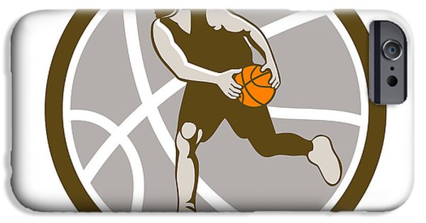 Dribbling iPhone Cases - Basketball Player Dribbling Ball Circle Retro iPhone Case by Aloysius Patrimonio