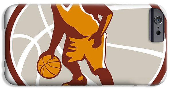 Dribbling iPhone Cases - Basketball Player Dribbling Ball Oval Retro iPhone Case by Aloysius Patrimonio
