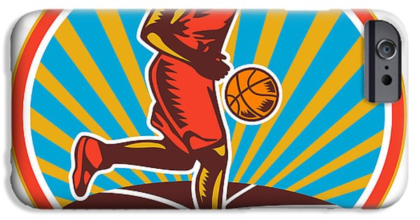 Dribbling iPhone Cases - Basketball Player Dribbling Ball Woodcut Retro iPhone Case by Aloysius Patrimonio