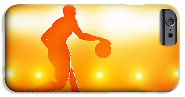 Dribbling iPhone Cases - Basketball player dribbling with ball iPhone Case by Michal Bednarek