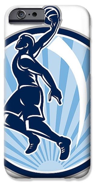 Basketball Player Dunk Ball Retro iPhone Case by Aloysius Patrimonio