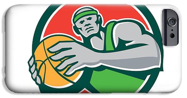 Baller iPhone Cases - Basketball Player Holding Ball Circle Retro iPhone Case by Aloysius Patrimonio