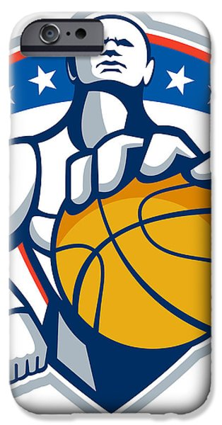 Basketball Player Holding Ball Crest Retro iPhone Case by Aloysius Patrimonio