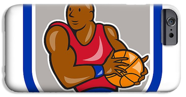 American Basketball Player iPhone Cases - Basketball Player Holding Ball Shield Cartoon iPhone Case by Aloysius Patrimonio