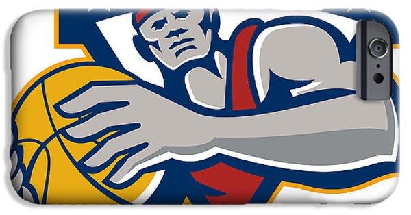 Baller iPhone Cases - Basketball Player Holding Ball Star Retro iPhone Case by Aloysius Patrimonio