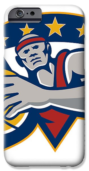 Basketball Player Holding Ball Star Retro iPhone Case by Aloysius Patrimonio