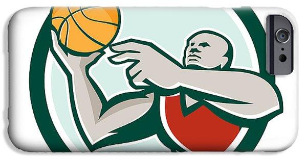 Baller iPhone Cases - Basketball Player Lay Up Ball Circle Retro iPhone Case by Aloysius Patrimonio