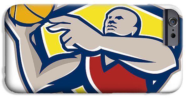 American Basketball Player iPhone Cases - Basketball Player Laying Up Ball Retro iPhone Case by Aloysius Patrimonio