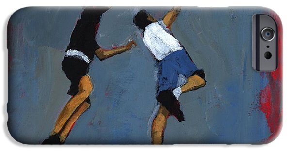 Slam Photographs iPhone Cases - Basketball Players, 2009 Acrylic On Board iPhone Case by Paul Powis