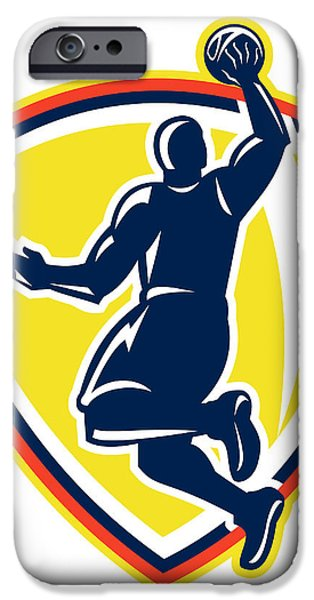 Basketballer Dunking Rebounding Ball Retro iPhone Case by Aloysius Patrimonio