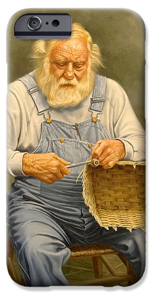 Beard iPhone Cases - Basketmaker  in oil iPhone Case by Paul Krapf