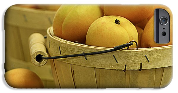 Farm Stand Photographs iPhone Cases - Baskets of Apricots Squared iPhone Case by Julie Palencia