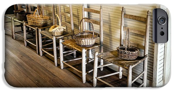 Ladder Back Chairs iPhone Cases - Baskets on Ladder Back Chairs iPhone Case by Lynn Palmer