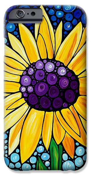 Sunflowers iPhone Cases - Basking In The Glory iPhone Case by Sharon Cummings