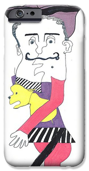 Caricature Mixed Media iPhone Cases - Basque Man with Dog iPhone Case by Don Koester