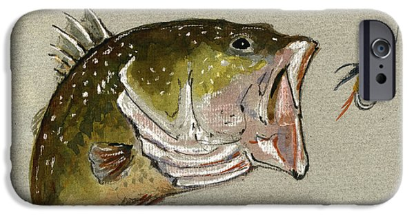 Original Watercolor iPhone Cases - Bass fish fly iPhone Case by Juan  Bosco