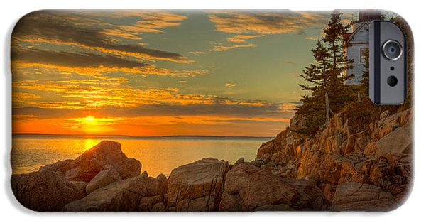 Head Harbour Lighthouse iPhone Cases - Bass Harbor Head Light at Sunset I iPhone Case by Clarence Holmes