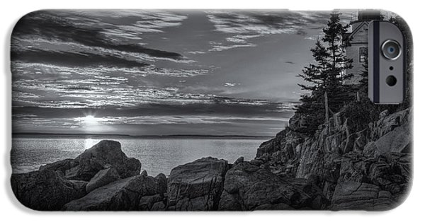 Head Harbour Lighthouse iPhone Cases - Bass Harbor Head Light at Sunset II iPhone Case by Clarence Holmes