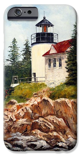 Park Scene Paintings iPhone Cases - Bass Harbor Head Light iPhone Case by Lee Piper