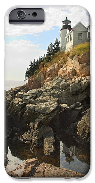 Ocean Scenes iPhone Cases - Bass Harbor Head Lighthouse iPhone Case by Mike McGlothlen