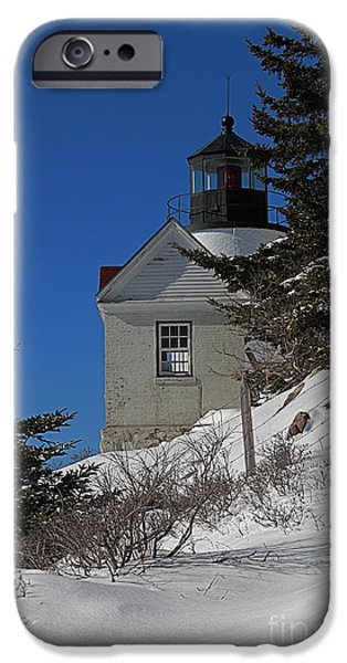 Nubble Lighthouse iPhone Cases - Bass Harbor in Winter iPhone Case by Joseph Marquis