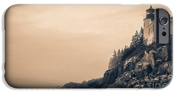Maine iPhone Cases - Bass Harbor Light House Mount Desert Island Maine iPhone Case by Edward Fielding
