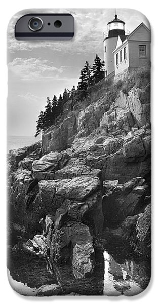 Maine Seascapes iPhone Cases - Bass Harbor Light iPhone Case by Mike McGlothlen