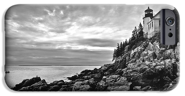 Rocky Maine Coast iPhone Cases - Bass Harbor Lighthouse at Dusk iPhone Case by Diane Diederich