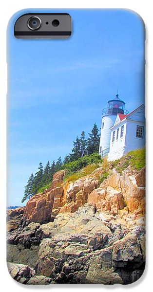 House iPhone Cases - Bass Harbor Lighthouse iPhone Case by Elizabeth Dow