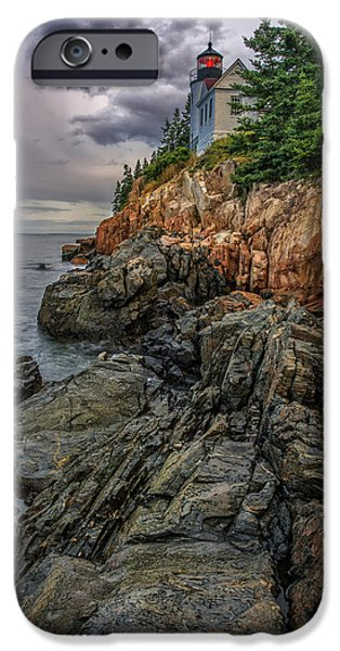 New England Lighthouse iPhone Cases - Bass Harbor Lighthouse iPhone Case by Rick Berk