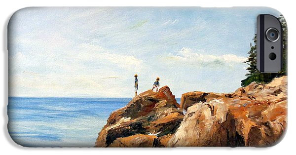 Park Scene Paintings iPhone Cases - Bass Harbor Rocks iPhone Case by Lee Piper