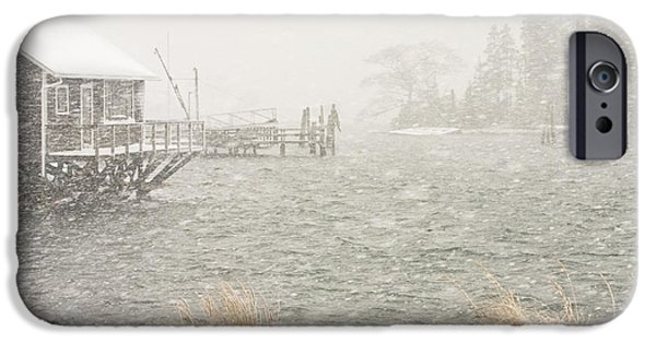 Wintertime iPhone Cases - Bass Harbor - Snowstorm - Mount Desert Island - Maine iPhone Case by Keith Webber Jr