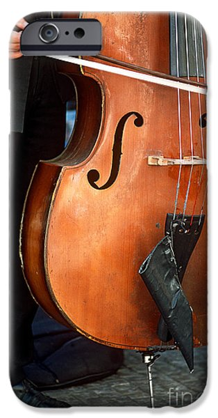 Upright Bass iPhone Cases - Bass Player In The Prague Funfair Band iPhone Case by James L. Amos