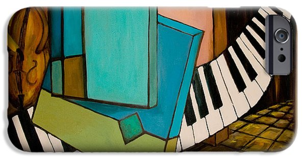 Keyboard Paintings iPhone Cases - Bass Solo iPhone Case by Larry Martin