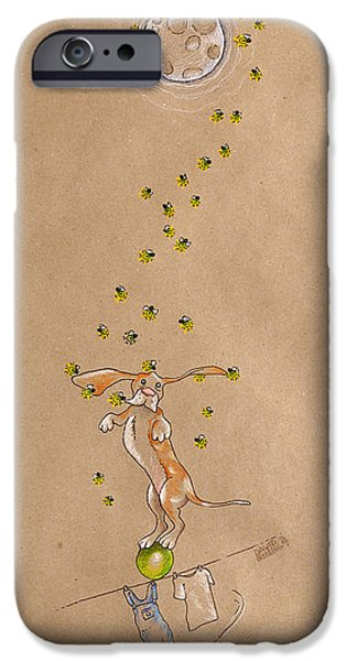 Hound iPhone Cases - Basset Hound and Fireflies iPhone Case by David Breeding