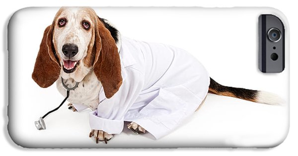 Purebred iPhone Cases - Basset Hound Dressed as a Veterinarian iPhone Case by Susan Schmitz