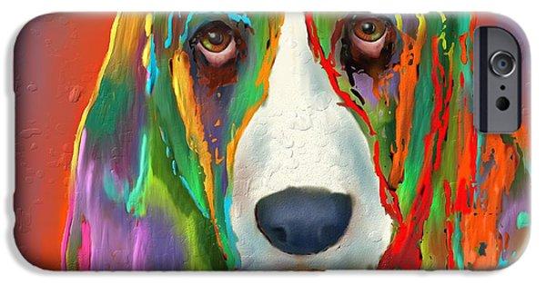 Puppy Digital iPhone Cases - Basset Hound iPhone Case by Marlene Watson
