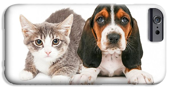 Little iPhone Cases - Basset Hound Puppy and Kitten iPhone Case by Susan  Schmitz