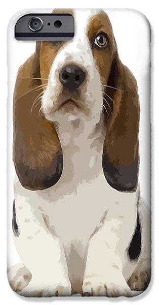 Puppies iPhone Cases - Basset Hound Puppy iPhone Case by Gabriel T Toro