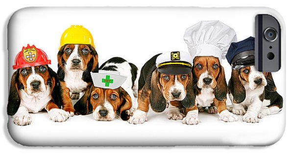 Police Dog iPhone Cases - Bassets in Work Hats  iPhone Case by Susan  Schmitz