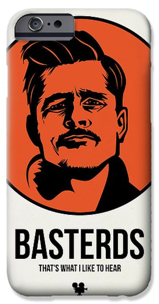 Film Mixed Media iPhone Cases - Basterds Poster 1 iPhone Case by Naxart Studio