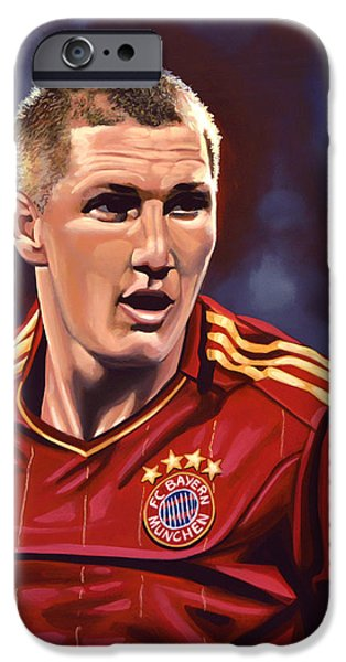 Olympics Paintings iPhone Cases - Bastian Schweinsteiger iPhone Case by Paul Meijering