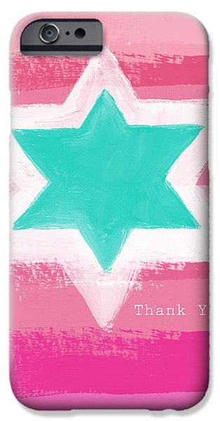 Painted Mixed Media iPhone Cases - Bat Mitzvah Thank You Card iPhone Case by Linda Woods