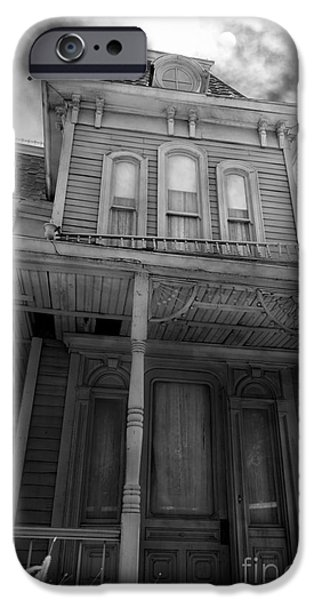 Haunted House Digital Art iPhone Cases - Bates Motel 5D28867 bw iPhone Case by Wingsdomain Art and Photography