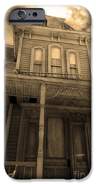 Haunted House Digital Art iPhone Cases - Bates Motel 5D28867 sepia v2 iPhone Case by Wingsdomain Art and Photography