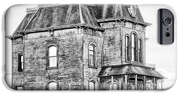 Haunted House iPhone Cases - Bates Motel Haunted House Black and White iPhone Case by Paul W Sharpe Aka Wizard of Wonders
