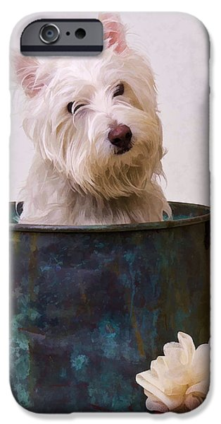 Puppy Digital Art iPhone Cases - Bath Time Westie iPhone Case by Edward Fielding